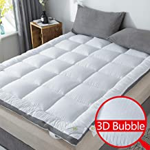 SUFUEE Mattress Topper Queen Air-Flow 3D Bubble Fabric Thick Quilted Alternative Down Pillow Top Mattress Cover Plush Hotel Quality