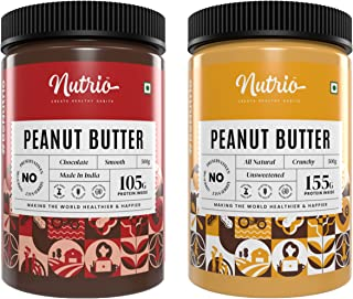 Nutrio 100% Natural Crunchy + Chocolate Creamy Peanut Butter 1Kg | Combo Pack (500gm of each) | No Added Oils & Salt, Zero...