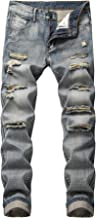 GARMOY Mens Mid Waist Casual Skinny Ripped Jeans Tapered Leg Distressed Denim Pants