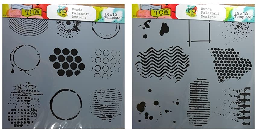 2 Crafters Workshop Large Mixed Media Stencils | 12 Inch X 12 Inch Templates | for Journaling, Scrapbooking, Card Making | To Make Texture, Batik, Eyelet, Jewel Designs and More