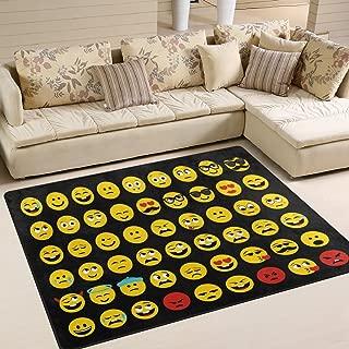 ALAZA Smiling Face Emotion Emoji Area Rug Rugs for Living Room Bedroom 5'3 x 4'