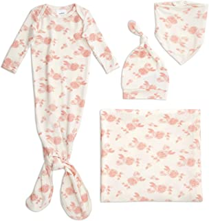 aden + anais Snuggle Knit Newborn Gift Set with Knotted Baby Gown, Swaddle Blanket, Infant Hat, and Bandana Bib, 0-3 Month...