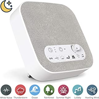 White Noise Machine for Sleeping, Aurola Sleep Sound Machine with Non-Looping Soothing Sounds for Baby Adult Traveler, Portable for Home Office Travel. Built in USB Output Charger & Timer