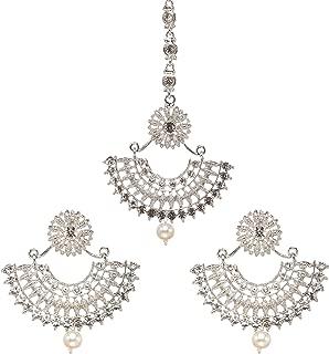 Bindhani Women's Indian Bollywood Jewellery Hair Accessories Maang Tika Headpiece Bridal Bridesmaid Wedding Traditional Bahubali Style Silver Plated Chandbali Kundan Earrings Mang Tikka Jewelry