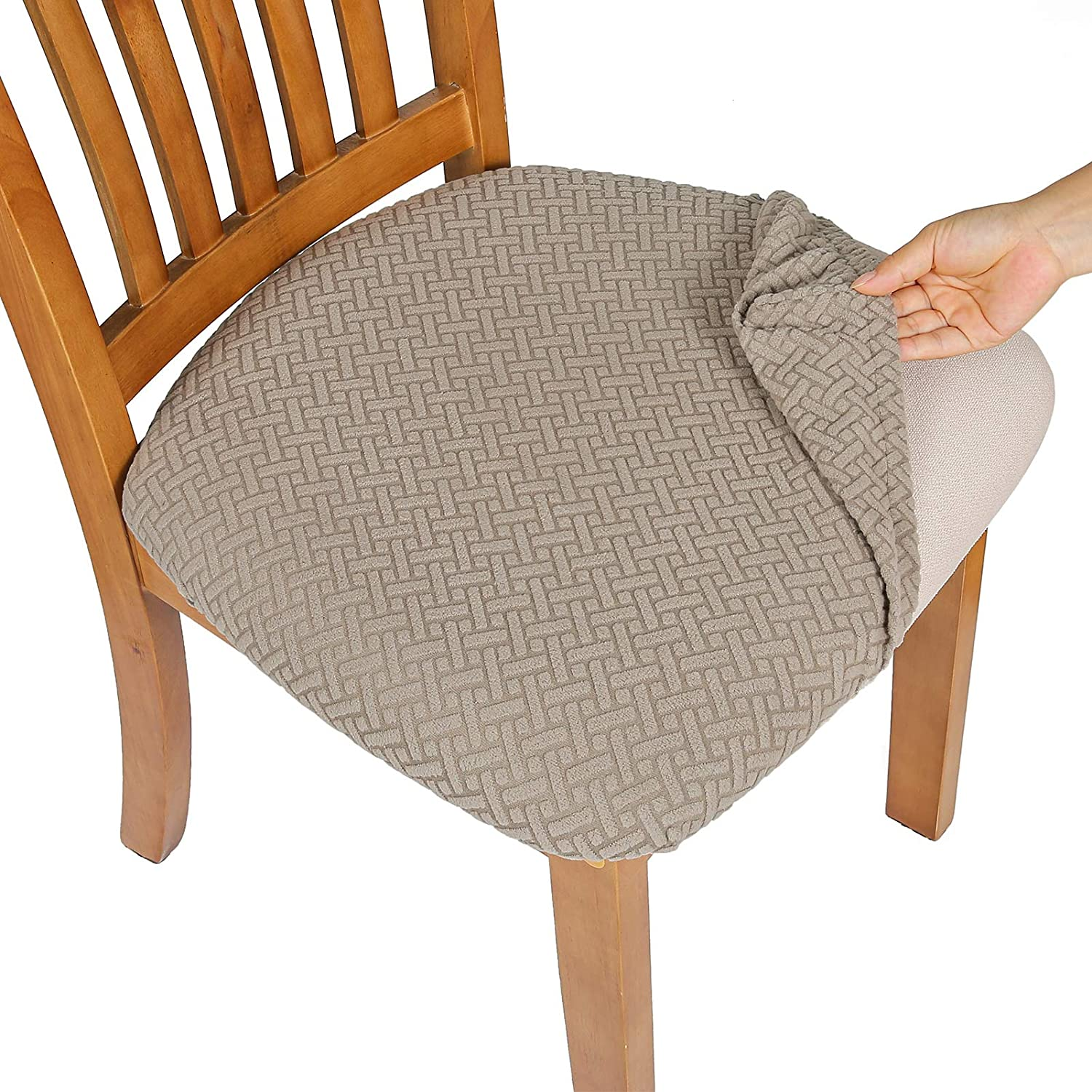 Comqualife Stretch Jacquard Fashion Twill Dining Chair Covers Seat SEAL limited product Remo