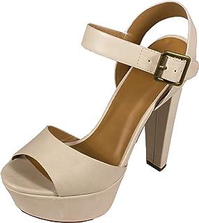 Delicious Bosco Women's Peep Toe Platform Ankle-Strap Wide Buckle Pumps