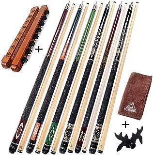 CUESOUL 6 Pieces Pool Cues 58 inch + Cue Rack+Cue Clean Towel+Bridge Head,Billiard House Bar Pool Cue Sticks