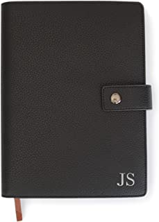 Monogrammed Black Full Grain Premium Leather Refillable Journal Cover with A5 Lined Notebook - Scratch-Proof DURA-Leather ...