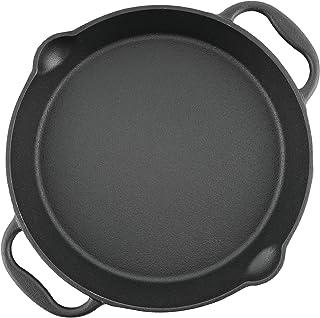 BBQ-Toro Gusseisen Grillpfanne I Gusspfanne mit Zwei Griffe und Zwei Ausgießer I Servierpfanne I Pfanne Durchmesser 25 cm