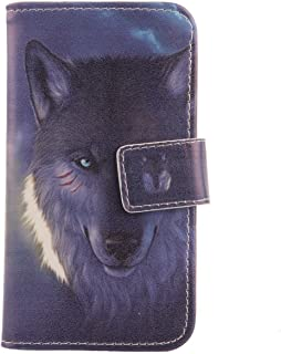 """Lankashi Pattern PU Leather Wallet Flip Cover Skin Protection Case for Easyfone Prime A5 1.8"""" (Wolf Design)"""