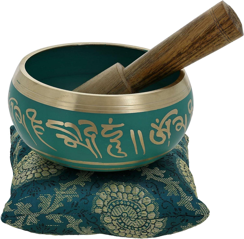 Ajuny Hermoso cuenco tibetano budista verde viene en palo y cojín, ideal para meditaciones y sanación de sonido, 10 cm