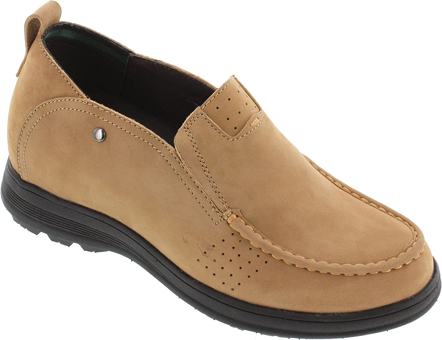 CALDEN K286021-3 Inches Taller - Height Increasing Elevator shoes (Brown Slip-on Casual shoes)