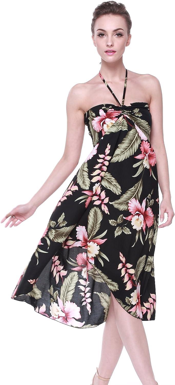 Polynesian dress Hawaiian dress women Black white tiki dress Size XXS-4XL