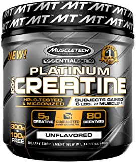 Creatine Monohydrate Powder | MuscleTech Platinum Creatine Powder | Pure Micronized Creatine Powder | Post Workout Supplem...