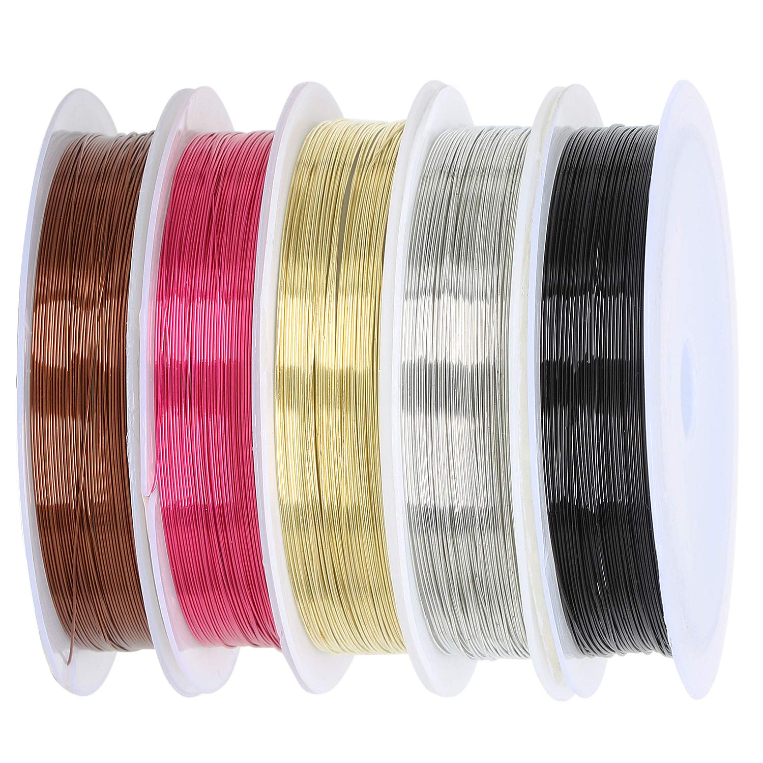 6 Metallic Craft Wire Beading Wire Coloured Wire Copper Plated Jewellery WireSet