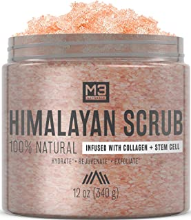M3 Naturals Himalayan Salt Infused with Collagen & Stem Cell Body Scrub & Face Scrub with Lychee Sweet Almond Oil Skin Care Exfoliating Blackheads Acne Scars Reduces Wrinkles 12 OZ