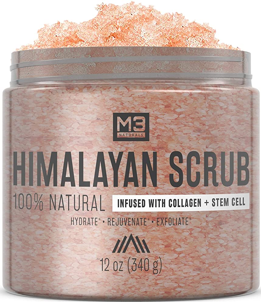 M3 Naturals Himalayan Salt Infused with Collagen & Stem Cell Body Scrub & Face Scrub with Lychee Sweet Almond Oil Skin Care Exfoliating Blackheads Acne Scars Reduces Wrinkles Souffle 12 OZ