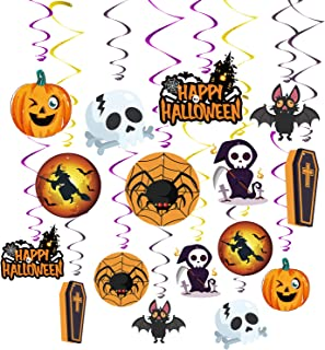 MIAHART 16 Pack Halloween Decorations Hang Swirls for Haunted House Ceiling Swirl Decor Included Bats, Spider, Ghost, Pumpkin Witches Scary Theme Ceiling Decorations