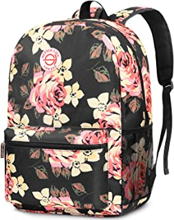 Backpack for Women/Girls/Students Light Weight School Bag Stylish College Bookbag Cute Travel Rucksack Casual Daypack Fits up to 15.6 Inch Laptop, Peony