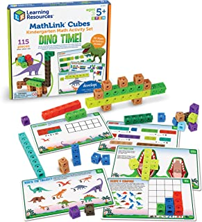 Learning Resources MathLink Cubes Kindergarten Math Activity Set: Dino Time! Educational Counting Toy, Math Cubes, Linking...