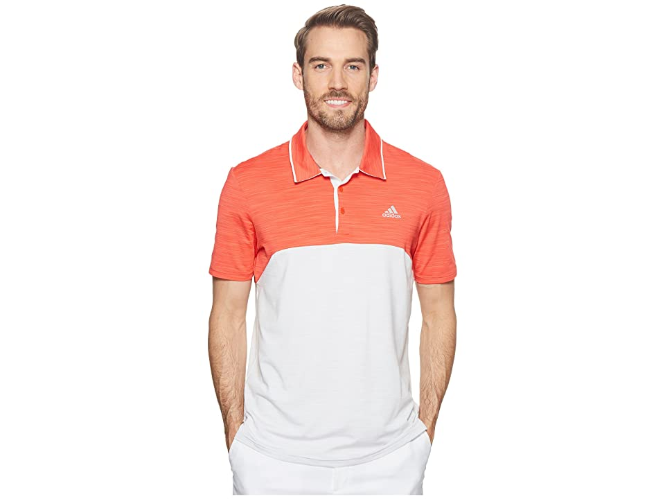 adidas Golf Ultimate Heather Blocked Polo (Hi-Res Red Heather/Grey One Heather) Men