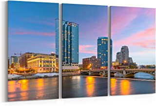 Grand Rapids Skyline Canvas Grand Rapids Canvas Art Grand Rapids Wall Art Canvas Michigan Multiple Sizes Gallery Wrapped Canvas on Pine Wooden Frame