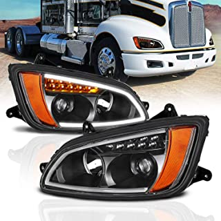 AmeriLite Black Projector Replacement Headlights LED Bar Turn Signal Set for Kenworth T660 (Pair) High/Low Beam Bulb Included