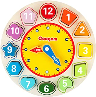 Coogam Wooden Shape Color Sorting Clock – Teaching Time Number Blocks Puzzle Stacking Sorter Jigsaw Montessori Early Learn...