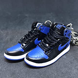 Pair Air jordan I 1 Retro High OG Royal Blue Black Sneakers Shoes 3D Keychain 1:6 Figure