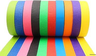 Cinta de colores - Cinta adhesiva decorativa para enmascarar - Rollos largos - Para decorar el aula, manualidades para niños, decoraciones de Navidad - Colores llamativos para etiquetar por colores