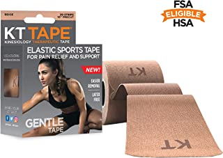 KT Tape Kinesiology Therapeutic Sports Tape,  Gentle Adhesive for Sensitive Skin,  20 Precut 10 inch Strips,  Beige