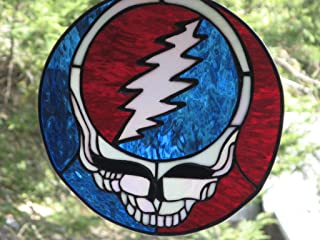 Grateful Dead Inspired Steal Your Face Stained Glass Panel Stealie
