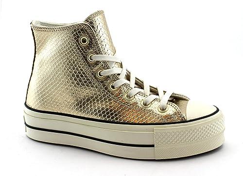 Converse 566507C Light Gold Oro Scarpe Donna Alte Zeppa Mid Lacci ...