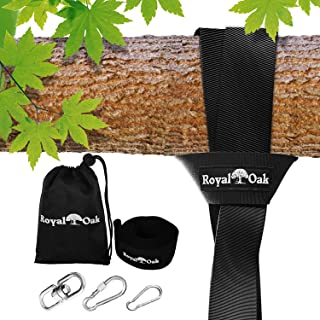 EASY HANG (8FT) TREE SWING STRAP X1 – Holds 2200lbs. – Heavy Duty Carabiner..