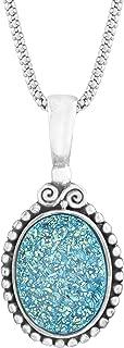 Sajen Natural Paraiba Druzy Quartz Pendant Necklace in Sterling Silver