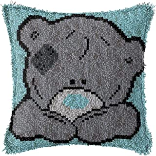2 Ensemble de kit de crochet de loquet DIY Broderie Ensemble imprimé avec de la belle boîte d'ours Toile de chaomnage Croc...