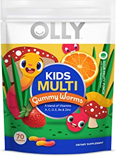 Olly Kids Multivitamin Gummy Worms, Essential Vitamins and Minerals A, C, D, E, Bs and Zinc, Sour Fruity Punch, 70 Count