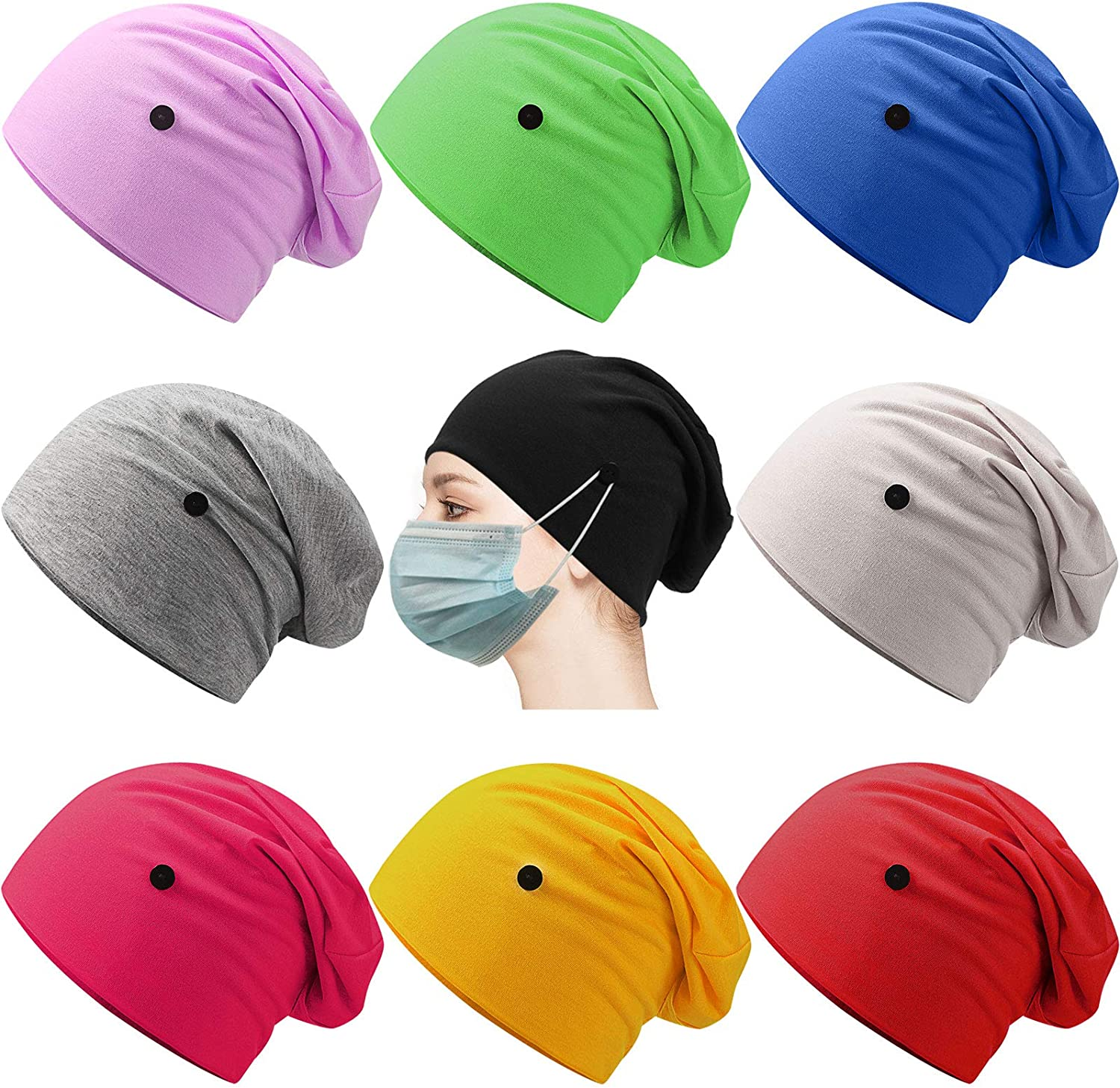 Geyoga 9 Pieces Slouchy Beanie Buttons Headwrap Bouffa Caps with Free shipping anywhere in the Houston Mall nation