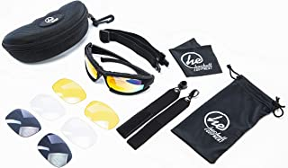 HACKETT EQUIPMENT Shooting Glasses with 4 Anti Fog, UV400 Interchangeable Lenses and Hard Case - Tactical Glasses with Foam Padding for Shell Casings