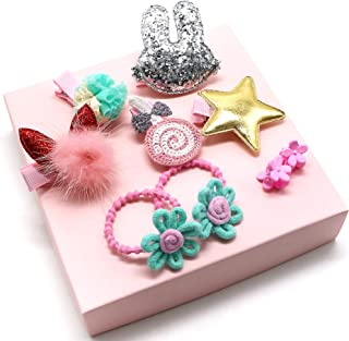 Princess Beautiful 9 Piece Baby Girl Flowers Bows Ponytails Hair Clips Hair Accessories for Baby Girls Gift Set