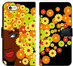 Liili Premium Phone Case Designed for iPhone 7 and iPhone 8 Flip Fabric Wallet Case Vector Cute Saxy African Girl with Floral Hairs Image ID 10364100