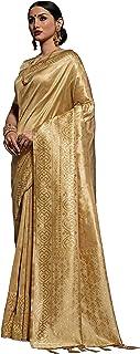 Expert E-commerce Services Women's Kanchipuram Silk Saree with Blouse (Golden)