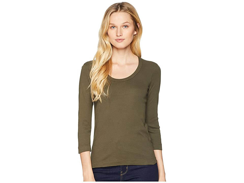Three Dots 100% Cotton Heritage Knit 3/4 Sleeve Scoop Neck (Harvest Green) Women