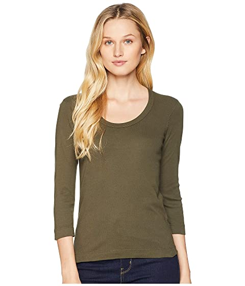 THREE DOTS 100% Cotton Heritage Knit 3/4 Sleeve Scoop Neck, Harvest Green