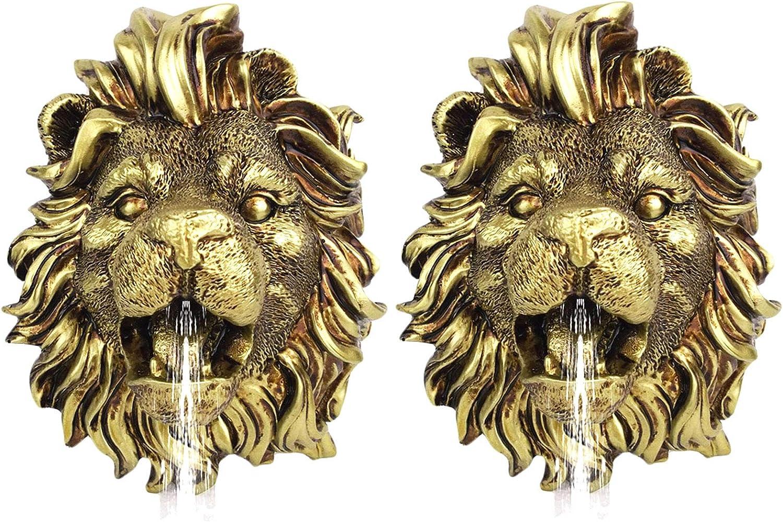 Fuente Colgante de la Pared del león - 2 Unidades Fuente de Agua Ornamental de la Cabeza Animal para el Patio - para el riego Creativo de la Escultura al Aire Libre Accesorios de decoración