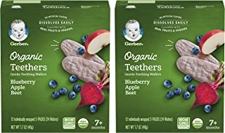 Sponsored Ad - Gerber Organic Teethers Gentle Teething Wafers, Blueberry Apple Beet, 24 Wafers/Box, 2 Boxes (48 Wafers Total)