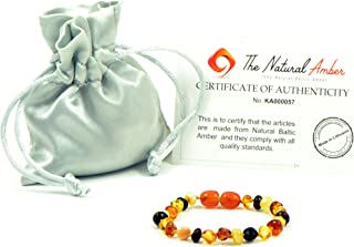 Amber Teething Bracelet/Anklet - 5.5 inches (14 cm) - Unisex - Hand-Made from Genuine Baltic Amber Beads (Multicolor)