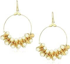 Kenneth Jay Lane Women's Pearl Hourglass Bead Hoop Earrings