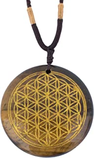 Ezina Designs Flower of Life Polished Gemstone Stone Amulet Pendant Lapis Lazuli Tigers Eye for Protection and Health (Tiger's Eye)