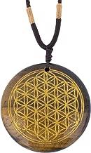 Ezina Designs Flower of Life Polished Gemstone Stone Amulet Pendant Lapis Lazuli Tigers Eye for Protection and Health (Tiger's Eye)